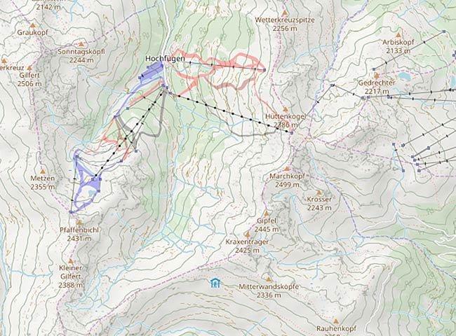 Freeride Map Hochfügen Tirol Orientierung  Tiefschnee