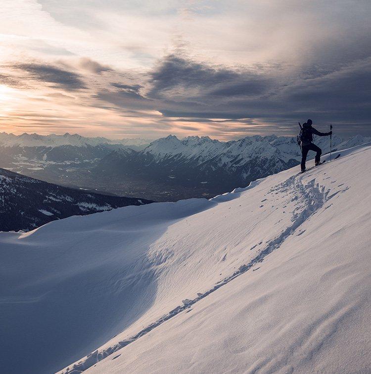 Schneedecke Spuren im Zillertaler Schnee Hochfügen Glücksgefühle