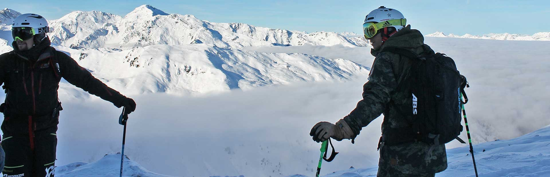 Freunde Skifahren Abseits Piste Skigebiet