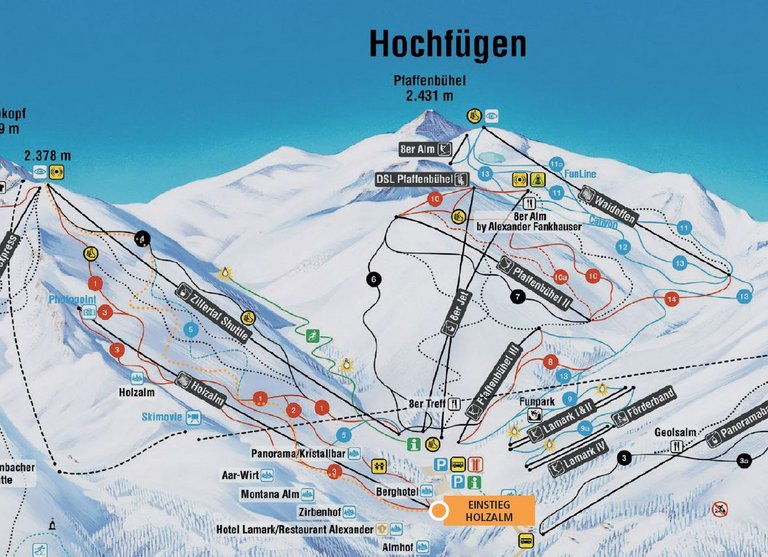 Hochfügen Pistentour Route Holzalm