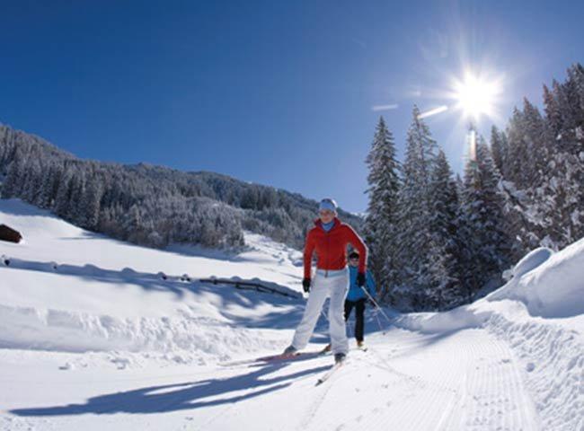Langlaufen Lanklaufskier Skisport Wintersport Winterpanorama Schneeurlaub