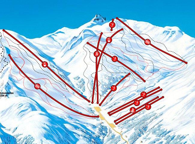Pistenplan Skipisten Hochfügen Zillertal Tirol Pistenschwierigkeit Pistenspaß